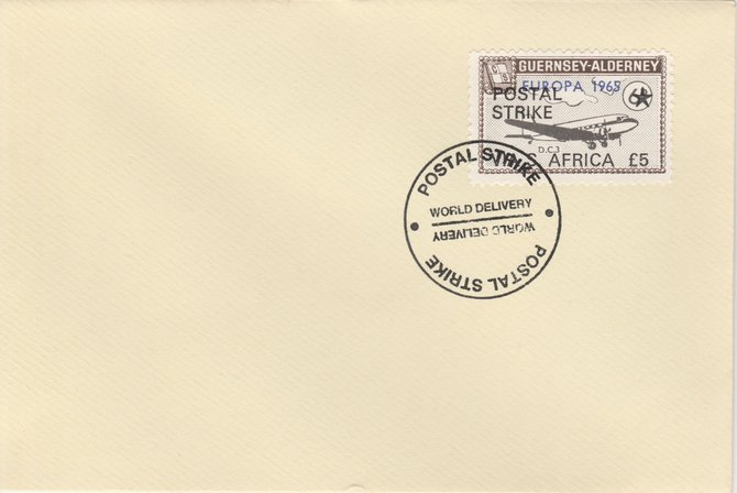 Guernsey - Alderney 1971 Postal Strike cover to South Africa bearing DC-3 6d overprinted Europa 1965 additionally overprinted 'POSTAL STRIKE VIA S AFRICA \A35' cancelled with World Delivery postmark