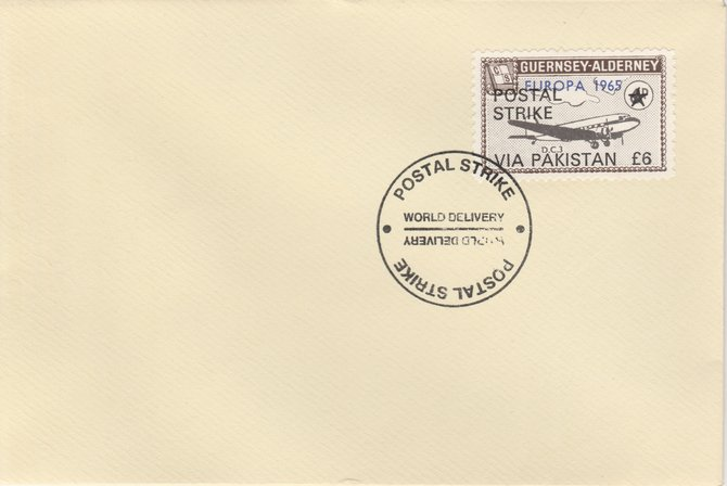 Guernsey - Alderney 1971 Postal Strike cover to Pakistan bearing DC-3 6d overprinted Europa 1965 additionally overprinted 'POSTAL STRIKE VIA PAKISTAN \A36' cancelled with World Delivery postmark