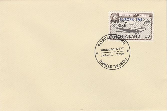 Guernsey - Alderney 1971 Postal Strike cover to Thailand bearing DC-3 6d overprinted Europa 1965 additionally overprinted 'POSTAL STRIKE VIA THAILAND \A36' cancelled with World Delivery postmark