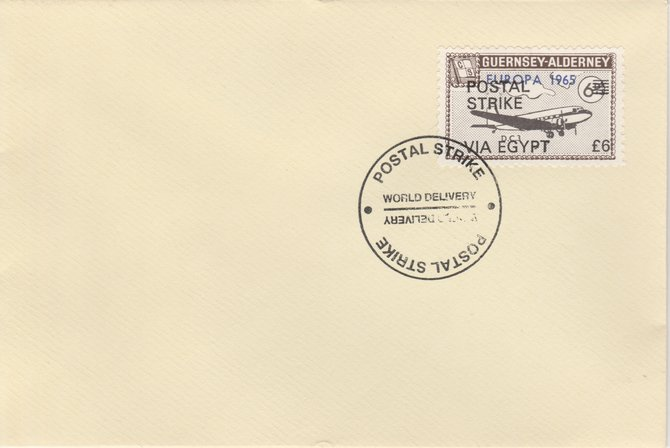 Guernsey - Alderney 1971 Postal Strike cover to Egypt bearing DC-3 6d overprinted Europa 1965 additionally overprinted 'POSTAL STRIKE VIA EGYPT \A36' cancelled with World Delivery postmark