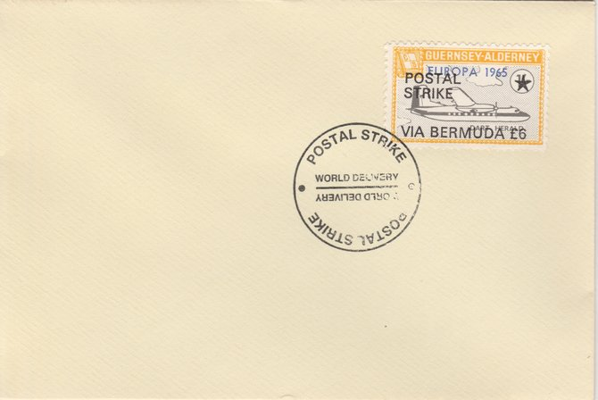Guernsey - Alderney 1971 Postal Strike cover to Bermuda bearing Dart Herald 1s overprinted Europa 1965 additionally overprinted 'POSTAL STRIKE VIA BERMUDA \A36' cancelled with World Delivery postmark