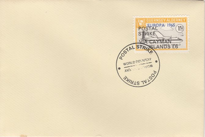 Guernsey - Alderney 1971 Postal Strike cover to Cayman Islands bearing Dart Herald 1s overprinted Europa 1965 additionally overprinted 'POSTAL STRIKE VIA CAYMAN ISLANDS \A36' cancelled with World Delivery postmark