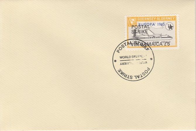 Guernsey - Alderney 1971 Postal Strike cover to Jamaica bearing Dart Herald 1s overprinted Europa 1965 additionally overprinted