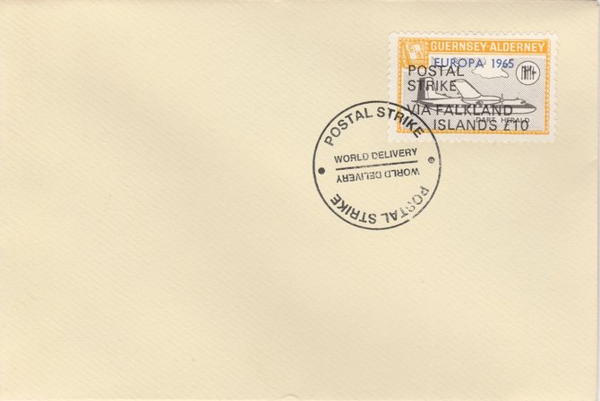 Guernsey - Alderney 1971 Postal Strike cover to Falkland Islands bearing Dart Herald 1s overprinted Europa 1965 additionally overprinted 'POSTAL STRIKE VIA FALKLAND ISLANDS \A310' cancelled with World Delivery postmark