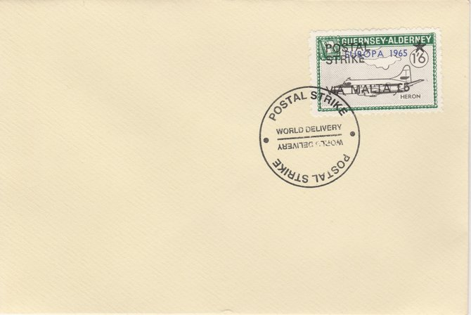 Guernsey - Alderney 1971 Postal Strike cover to Malta bearing Heron 1s6d overprinted Europa 1965 additionally overprinted 'POSTAL STRIKE VIA MALTA \A35' cancelled with World Delivery postmark