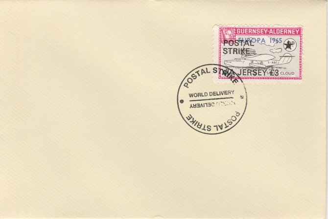 Guernsey - Alderney 1971 Postal Strike cover to Jersey bearing Flying Boat Saro Cloud 3d overprinted Europa 1965 additionally overprinted 'POSTAL STRIKE VIA JERSEY \A33' cancelled with World Delivery postmark