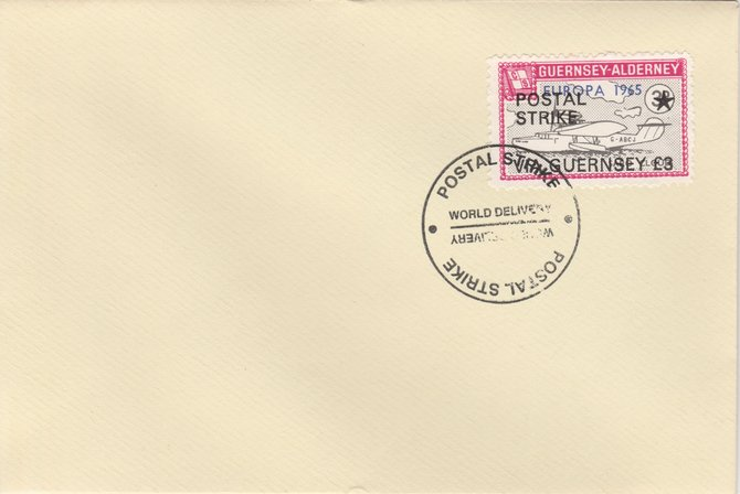 Guernsey - Alderney 1971 Postal Strike cover to Guernsey bearing Flying Boat Saro Cloud 3d overprinted Europa 1965 additionally overprinted 'POSTAL STRIKE VIA GUERNSEY \A33' cancelled with World Delivery postmark