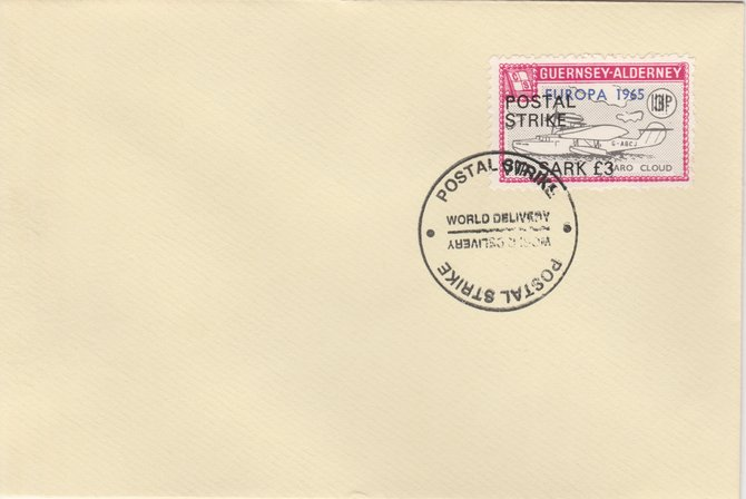 Guernsey - Alderney 1971 Postal Strike cover to Sark bearing Flying Boat Saro Cloud 3d overprinted Europa 1965 additionally overprinted 'POSTAL STRIKE VIA SARK \A33' cancelled with World Delivery postmark