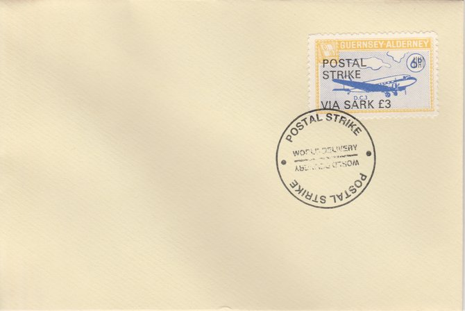 Guernsey - Alderney 1971 Postal Strike cover to Sark bearing 1967 DC-3 6d overprinted 'POSTAL STRIKE VIA SARK \A33' cancelled with World Delivery postmark