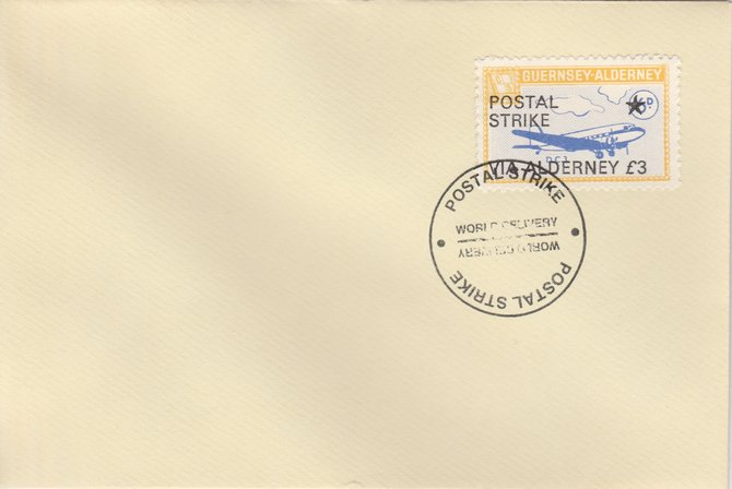 Guernsey - Alderney 1971 Postal Strike cover to Alderney bearing 1967 DC-3 6d overprinted 'POSTAL STRIKE VIA ALDERNEY \A33' cancelled with World Delivery postmark