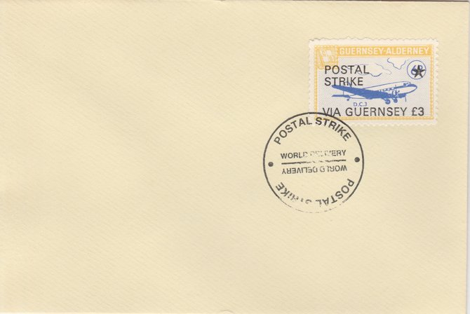 Guernsey - Alderney 1971 Postal Strike cover to Guernsey bearing 1967 DC-3 6d overprinted 'POSTAL STRIKE VIA GUERNSEY \A33' cancelled with World Delivery postmark