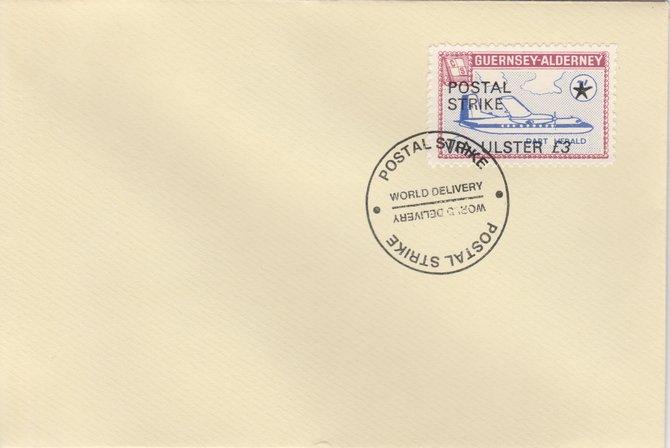 Guernsey - Alderney 1971 Postal Strike cover to Ulster bearing 1967 Dart Herald 1s overprinted 'POSTAL STRIKE VIA ULSTER \A33' cancelled with World Delivery postmark