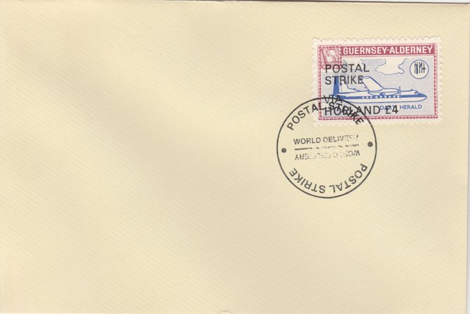 Guernsey - Alderney 1971 Postal Strike cover to Holland bearing 1967 Dart Herald 1s overprinted 'POSTAL STRIKE VIA HOLLAND \A34' cancelled with World Delivery postmark