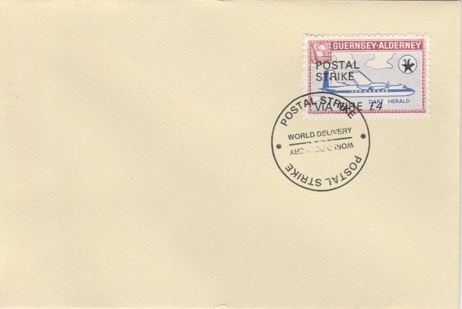 Guernsey - Alderney 1971 Postal Strike cover to Ireland bearing 1967 Dart Herald 1s overprinted 'POSTAL STRIKE VIA EIRE \A34' cancelled with World Delivery postmark