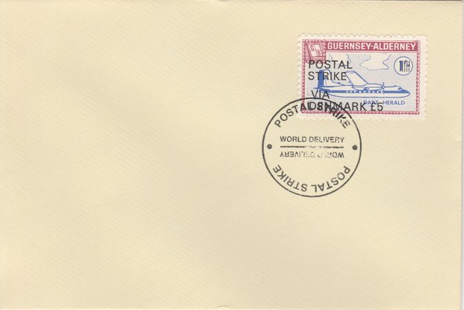 Guernsey - Alderney 1971 Postal Strike cover to Denmark bearing 1967 Dart Herald 1s overprinted 'POSTAL STRIKE VIA DENMARK \A35' cancelled with World Delivery postmark