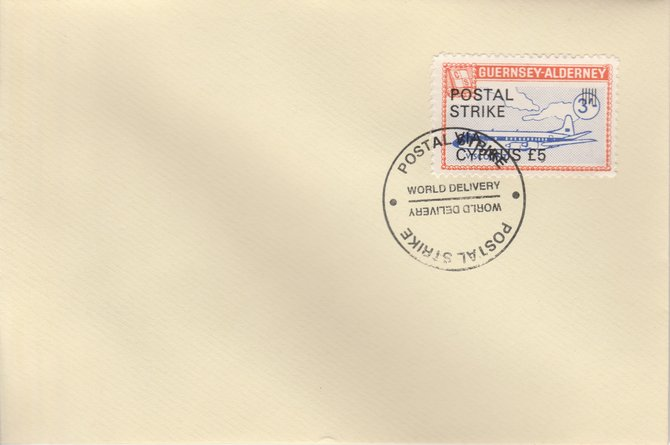 Guernsey - Alderney 1971 Postal Strike cover to Cyprus bearing 1967 Viscount 3s overprinted 'POSTAL STRIKE VIA CYPRUS \A35' cancelled with World Delivery postmark