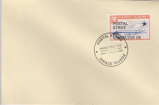 Guernsey - Alderney 1971 Postal Strike cover to Gibraltar bearing 1967 Viscount 3s overprinted 'POSTAL STRIKE VIA GIBRALTAR \A35' cancelled with World Delivery postmark