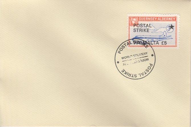 Guernsey - Alderney 1971 Postal Strike cover to Malta bearing 1967 Viscount 3s overprinted