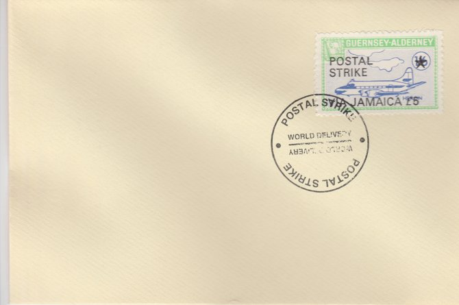 Guernsey - Alderney 1971 Postal Strike cover to Jamaica bearing 1967 Heron 1s6d overprinted 'POSTAL STRIKE VIA JAMAICA \A35' cancelled with World Delivery postmark