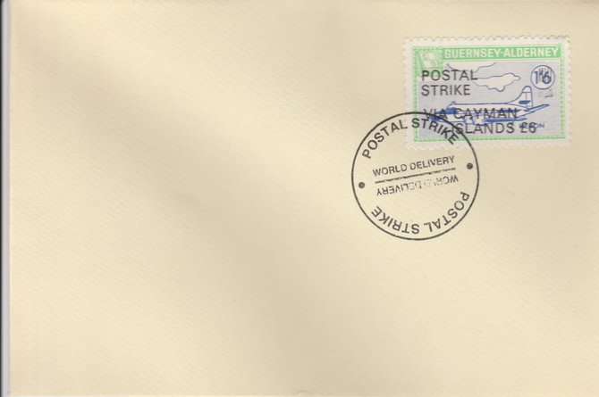 Guernsey - Alderney 1971 Postal Strike cover to Cayman Islands bearing 1967 Heron 1s6d overprinted 'POSTAL STRIKE VIA CAYMAN ISLANDS \A36' cancelled with World Delivery postmark