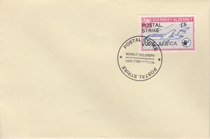 Guernsey - Alderney 1971 Postal Strike cover to South Africa bearing 1967 BAC One-Eleven 3d overprinted 'POSTAL STRIKE VIA S AFRICA \A35' cancelled with World Delivery postmark