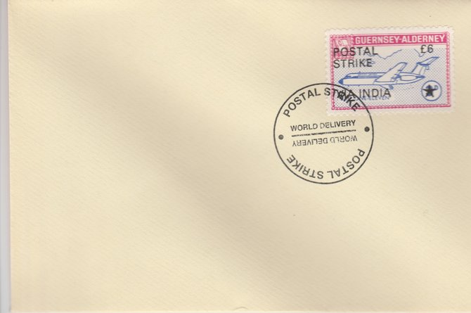 Guernsey - Alderney 1971 Postal Strike cover to India bearing 1967 BAC One-Eleven 3d overprinted 'POSTAL STRIKE VIA INDIA \A36' cancelled with World Delivery postmark