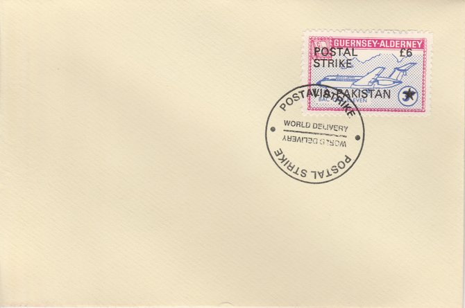 Guernsey - Alderney 1971 Postal Strike cover to Pakistan bearing 1967 BAC One-Eleven 3d overprinted 'POSTAL STRIKE VIA PAKISTAN \A36' cancelled with World Delivery postmark