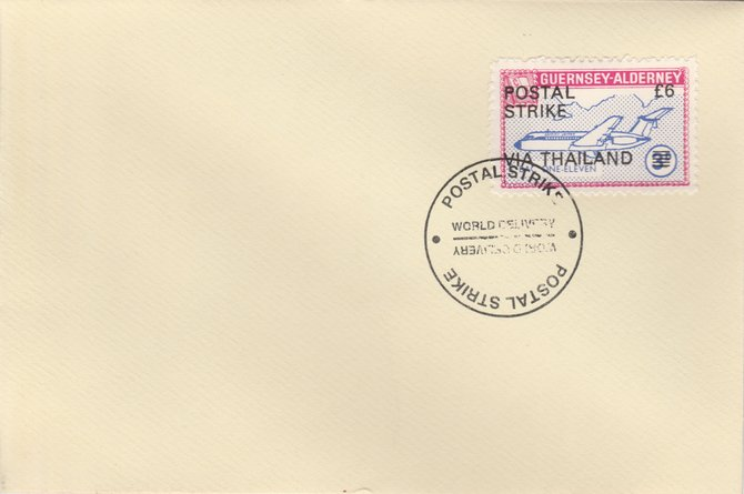 Guernsey - Alderney 1971 Postal Strike cover to Thailand bearing 1967 BAC One-Eleven 3d overprinted 'POSTAL STRIKE VIA THAILAND \A36' cancelled with World Delivery postmark