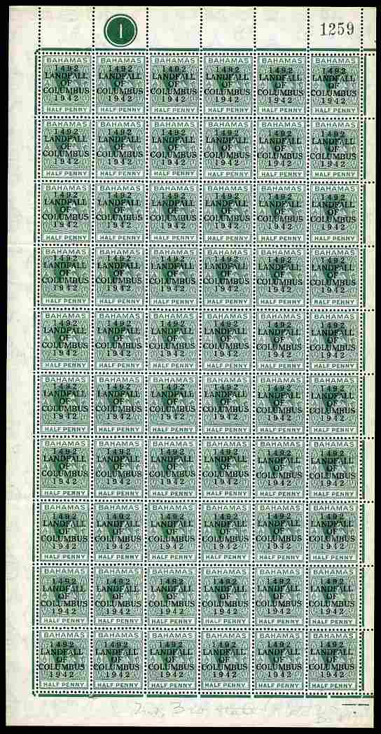 Bahamas 1942 KG6 Landfall of Columbus 1/2d green complete left pane of 60 including plate varieties R9/4 (thin L in Half) & R 10/1 (rounded lower left corner) plus overpr...