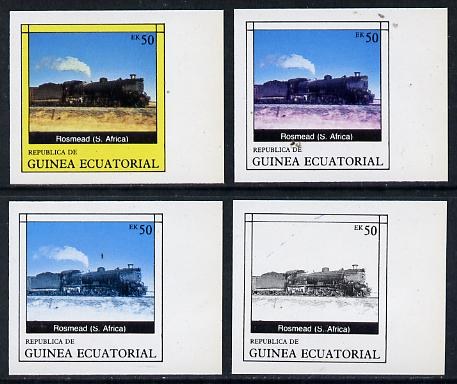Equatorial Guinea 1977 Locomotives EK50 (S African Rosmead) set of 4 imperf progressive proofs on ungummed paper comprising 1, 2, 3 and all 4 colours (as Mi 1150) , stamps on , stamps on  stamps on railways