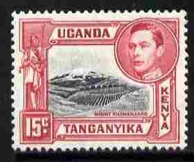Kenya, Uganda & Tanganyika 1938-54 KG6 Mt Kilimanjaro 15c black & rose-red P13.75 x 13.25 unmounted mint SG137a