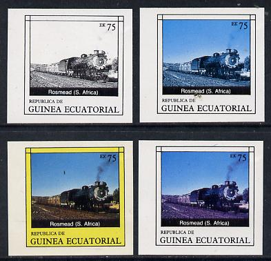 Equatorial Guinea 1977 Locomotives EK75 (S African Rosmead) set of 4 imperf progressive proofs on ungummed paper comprising 1, 2, 3 and all 4 colours (as Mi 1151)