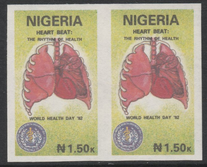 Nigeria 1992 World Health Day (Heart) 1n50 imperf pair unmounted mint as SG 627