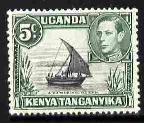 Kenya, Uganda & Tanganyika 1938-54 KG6 Dhow on Lake Victoria 5c black & green unmounted mint, SG 132