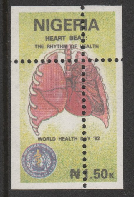 Nigeria 1992 World Health Day (Heart) 1n50 with perfrations misplaced unmounted mint as SG 627, stamps on medical, stamps on heart