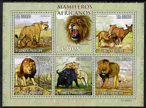 St Thomas & Prince Islands 2010 Animals of Africa - Lions perf sheetlet containing 5 values unmounted mint