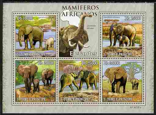St Thomas & Prince Islands 2010 Animals of Africa - Elephants perf sheetlet containing 5 values unmounted mint