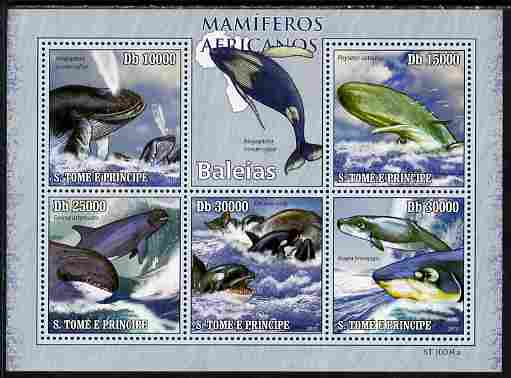 St Thomas & Prince Islands 2010 Animals of Africa - Whales perf sheetlet containing 5 values unmounted mint