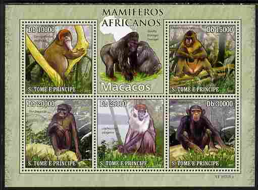 St Thomas & Prince Islands 2010 Animals of Africa - Monkeys perf sheetlet containing 5 values unmounted mint