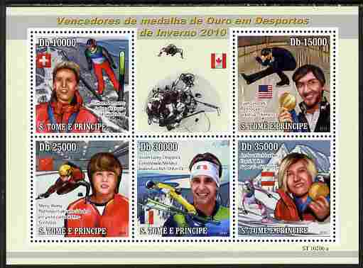 St Thomas & Prince Islands 2010 Winter Sports perf sheetlet containing 5 values unmounted mint