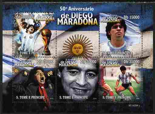 St Thomas & Prince Islands 2010 Diego Maradona perf sheetlet containing 5 values unmounted mint