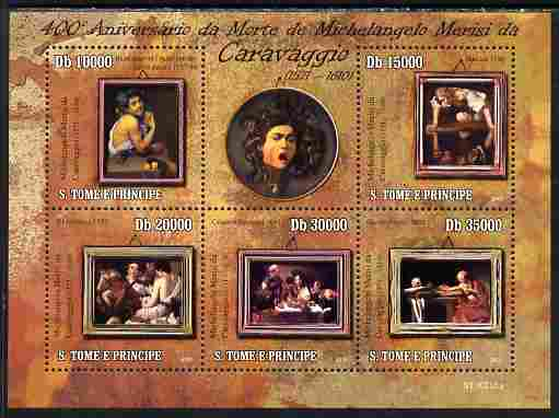 St Thomas & Prince Islands 2010 Caravaggio Paintings perf sheetlet containing 5 values unmounted mint