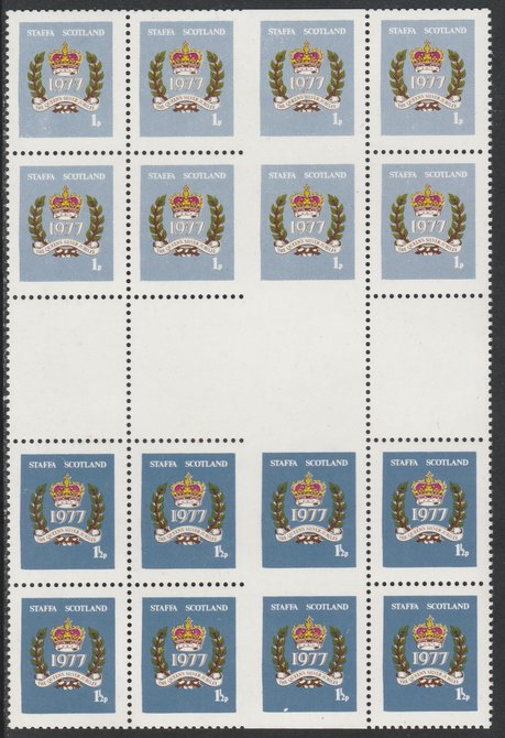 Staffa 1977 Silver Jubilee set of 2 ( 1p & 1.5p) in se-tenant gutter block of 16 partially imperforate unmounted mint, stamps on royalty, stamps on silver jubilee