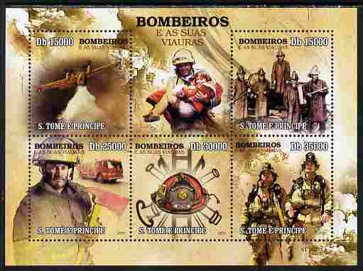 St Thomas & Prince Islands 2010 Fire Fighters perf sheetlet containing 5 values unmounted mint