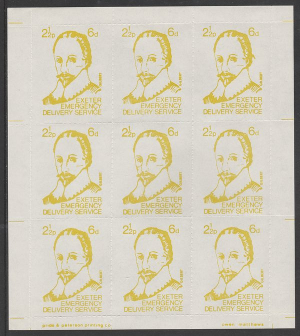 Great Britain 1971 Exeter Emergency Delivery Service 2.5p-6d label depicting Gilbert in complete sheet of 9 unmounted mint