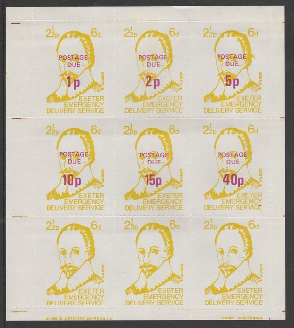 Cinderella - Great Britain 1971 Exeter Emergency Delivery Service 2.5p-6d labels depicting Gilbert in a complete sheet of 9 comprising set of 6 opt