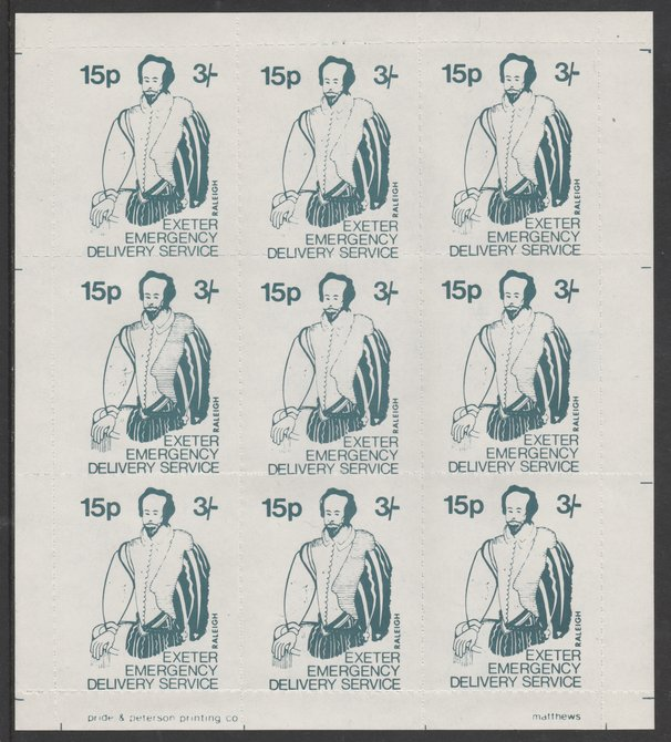 Great Britain 1971 Exeter Emergency Delivery Service 15p-3s label depicting Raleigh in complete sheet of 9 unmounted mint