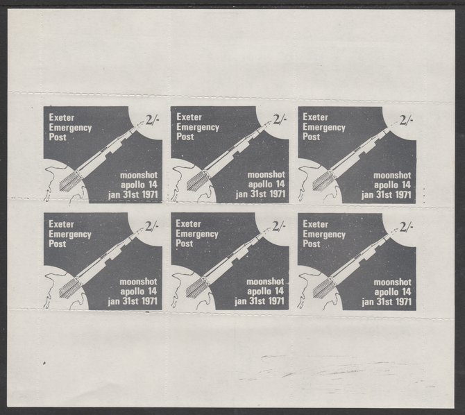 Great Britain 1971 Exeter Emergency Post 2s label depicting Apollo 14 Moonshot complete sheetlet of 6 unmounted mint