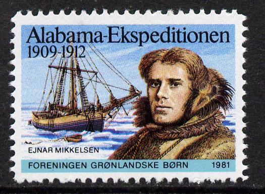 Cinderella - Greenland 1981 label commemorating the 1909-12 Alabama Expedition showing Mikkelsen & his ship unmounted mint*