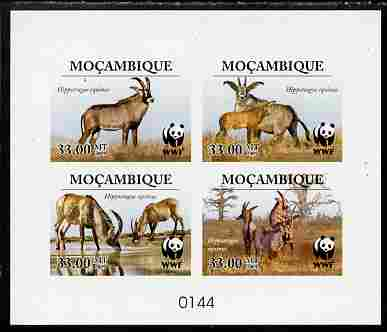 Mozambique 2009 WWF - Antelope Hippotragus equinus imperf deluxe sheetlet containing 4 vaues (numbered from a limited edition)